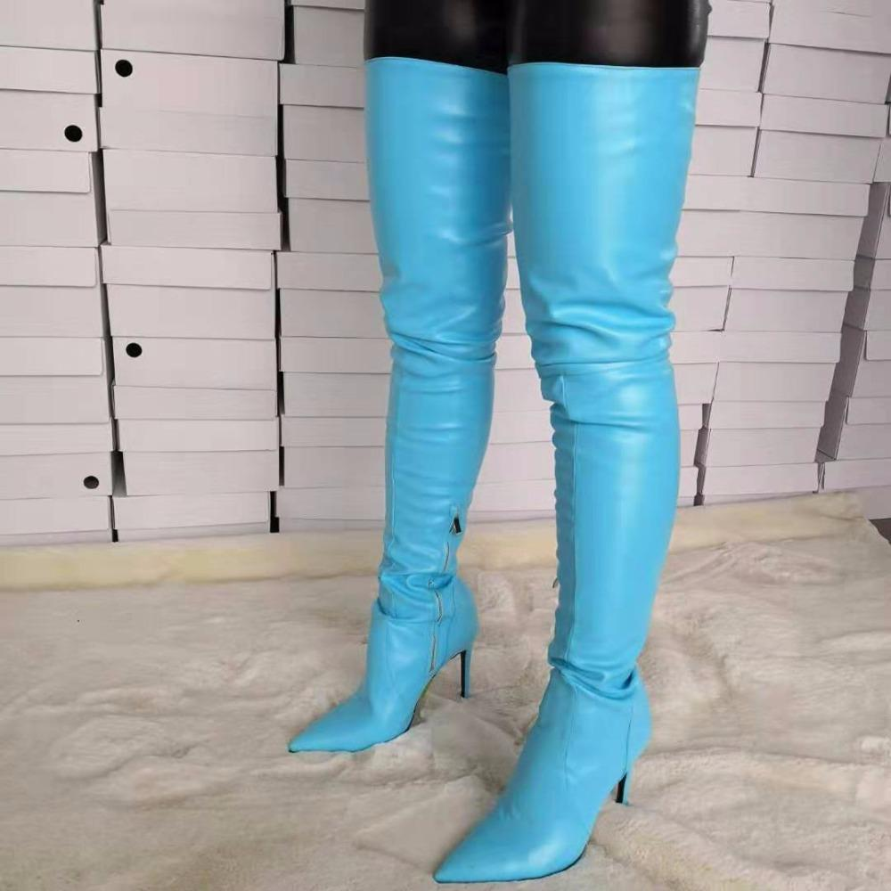 872a68404e2d LAIGZEM STYLISH Women Over The Knee Boots Pointy Toe High Heels Boots Party  Club Show Ladies Basic Female Shoes Woman Big Size 34 47 Rubber Boots Ski  Boots ...