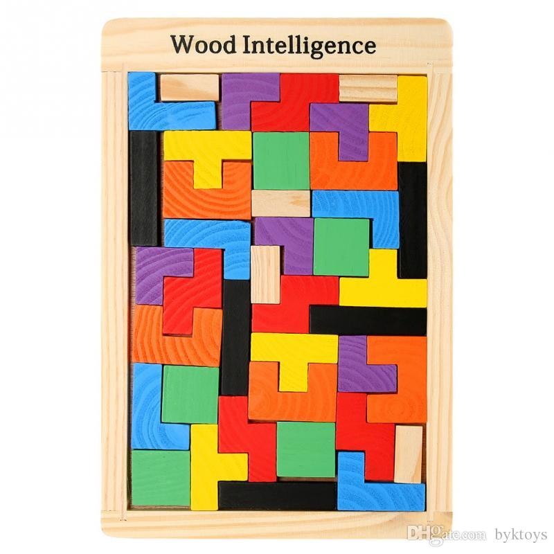 Baby Wooden Tetris Puzzles Colorful Jigsaw Board Toys Brain Teaser Game Preschool Children Intellectual Toy Kids Gift