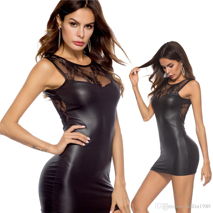 e04cef2f34579 2019 Little Black Faux Leather Club Dress Lace Panelled Sexy PVC ...