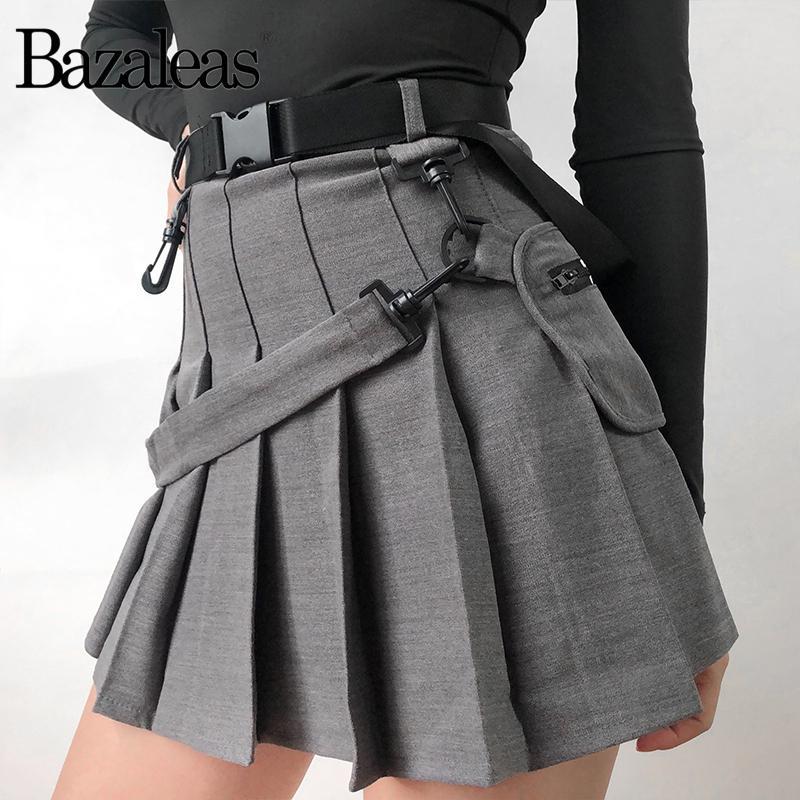 26bfdfd536228 Women Skirts Sexy Harajuku Short Skirts Casual Grey Sashes Fashion Pleated  Skirts Punk Mini Skirt Vintage J190507
