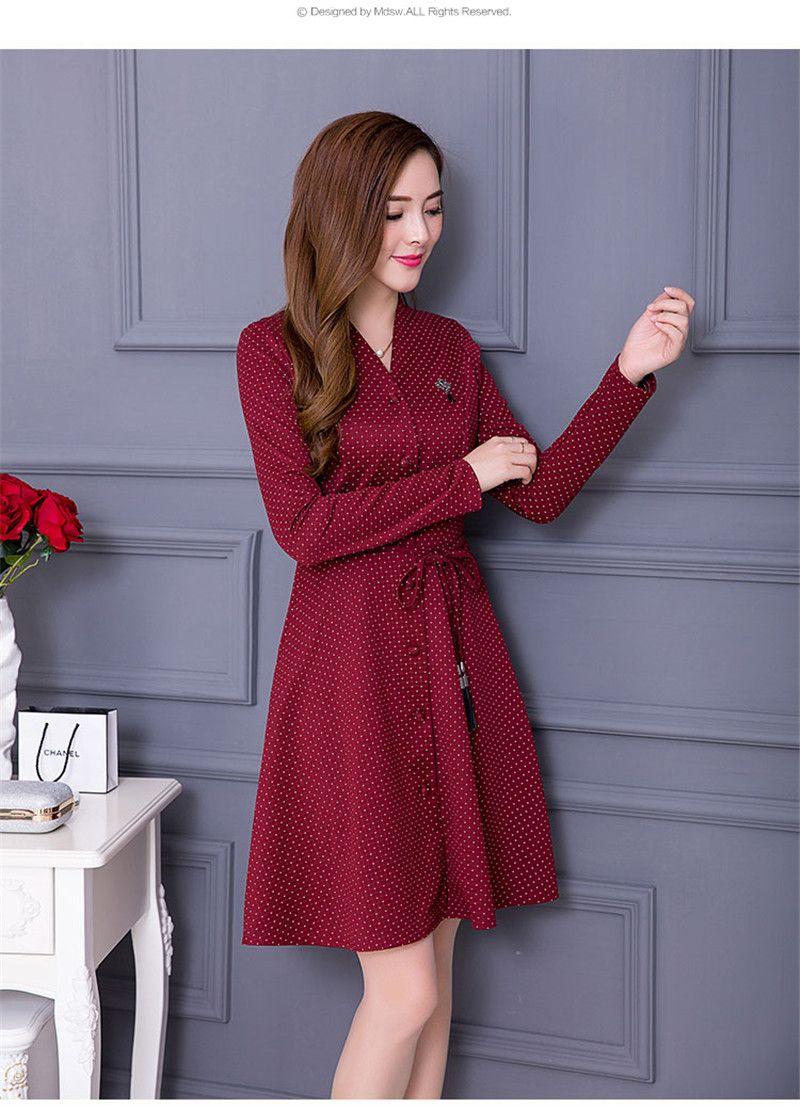 Polka Dot Pattern Autumn/Winter Single-breasted V neck Dresses Women Long Sleeve Fashion Midi Plus Size Dress Vestido TT2976