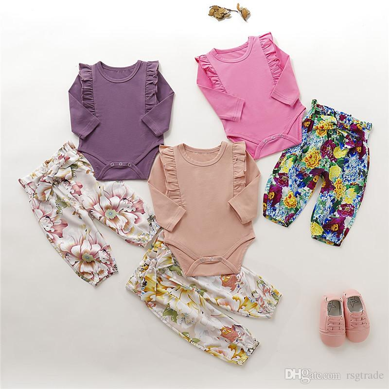 INS New Infant Baby Boys Girls Rompers with Floral Pants 2pieces Cotton Ruffles Jumpsuits Elastic Flower Trousers Children Clothing Set