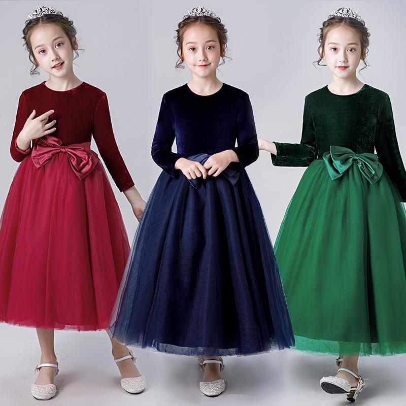 afcb8831f6e22 Satın Al Çocuk Sonbahar Ve Kış Performans Elbiseler Kız Çocuk Elbise Uzun  Kollu Çocuk Yürüyüş Şovu Prenses Elbiseler Evsahibi Abiye, $60.3    DHgate.Com'da