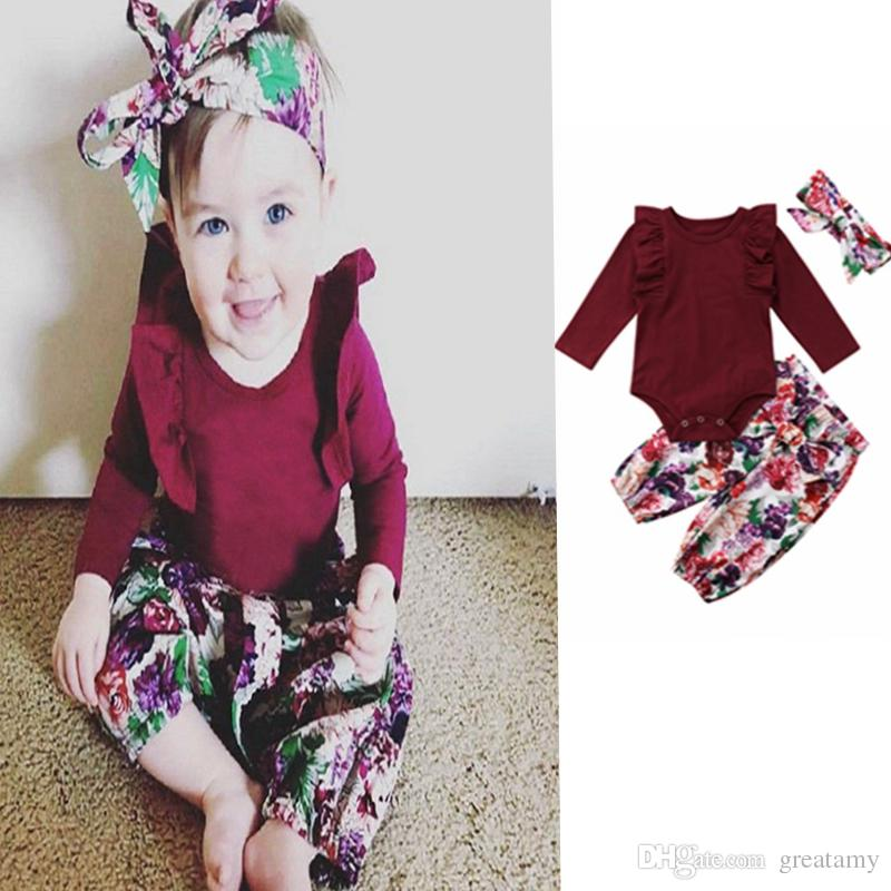 efcb8a1a894c Princess Infant Girl Clothes Set Long Sleeve Romper +print Pants + ...