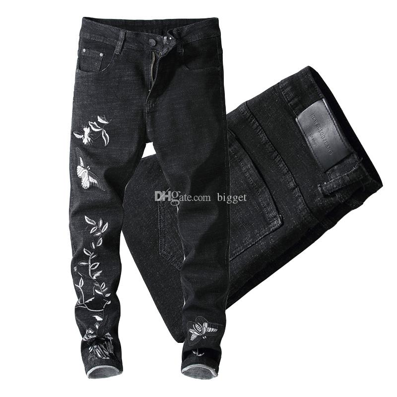 f06a0935e0 2019 Flower Bird Butterfly Embroidery Men Black Slim Fit Stretch Denim  Cotton Jeans Mens Cowboy Trousers Distressed From Bigget, $29.45 |  DHgate.Com
