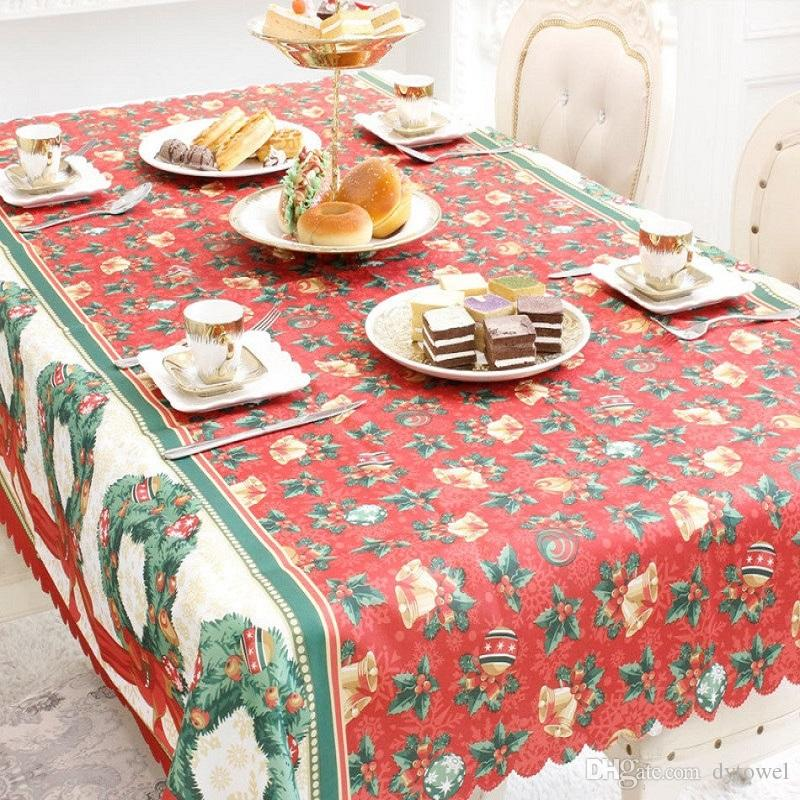 Christmas Tablecloths.150x180cm Merry Christmas Tablecloth Xmas Rectangular Table Cloth Kitchen Dining Table Dust Cover Christmas Decorations For Home