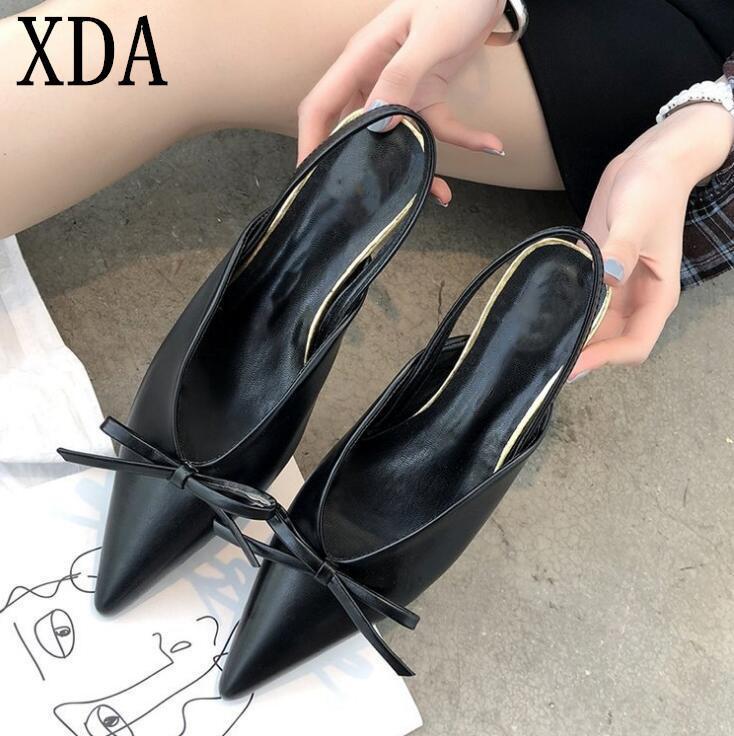 a39fb5e5b6 Designer Dress Shoes Xda Women Pumps Slingbacks Summer High Heel Sexy  Pointed Toe Single Brand Fashion Bowknot Thin Heel Sandals E114 Mens Boat  Shoes ...