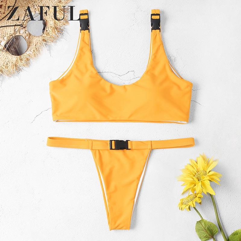5cdf99c6e6 2019 ZAFUL Women Sexy Bikini Set Push Up Padded Bandage Swimwear Buckle  Swimsuit Beachwear Female Swimsuit Fused Biquini 2019 Mujer From Grege, ...