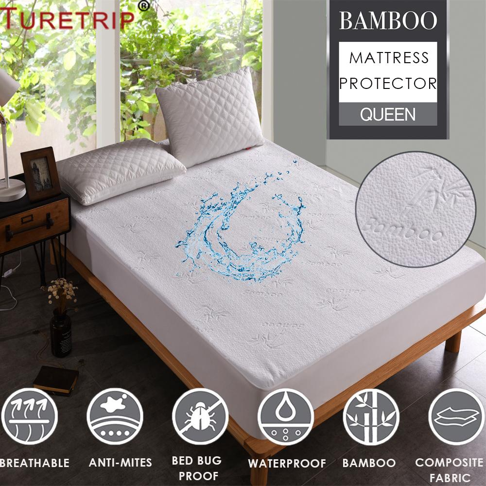 Turetrip Jacquard Bamboo Mattress Cover Bed Waterproof Mattress