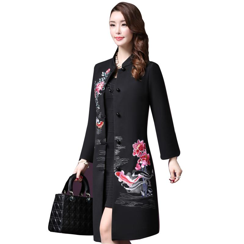 1dfda62ad9c 2019 Vintage Embroidered Flowers Wool Coat Women 2018 Autumn Winter New  Elegant Single Breasted Plus Size 5XL Lady Wool Coat LF765 D19011501 From  Tai03
