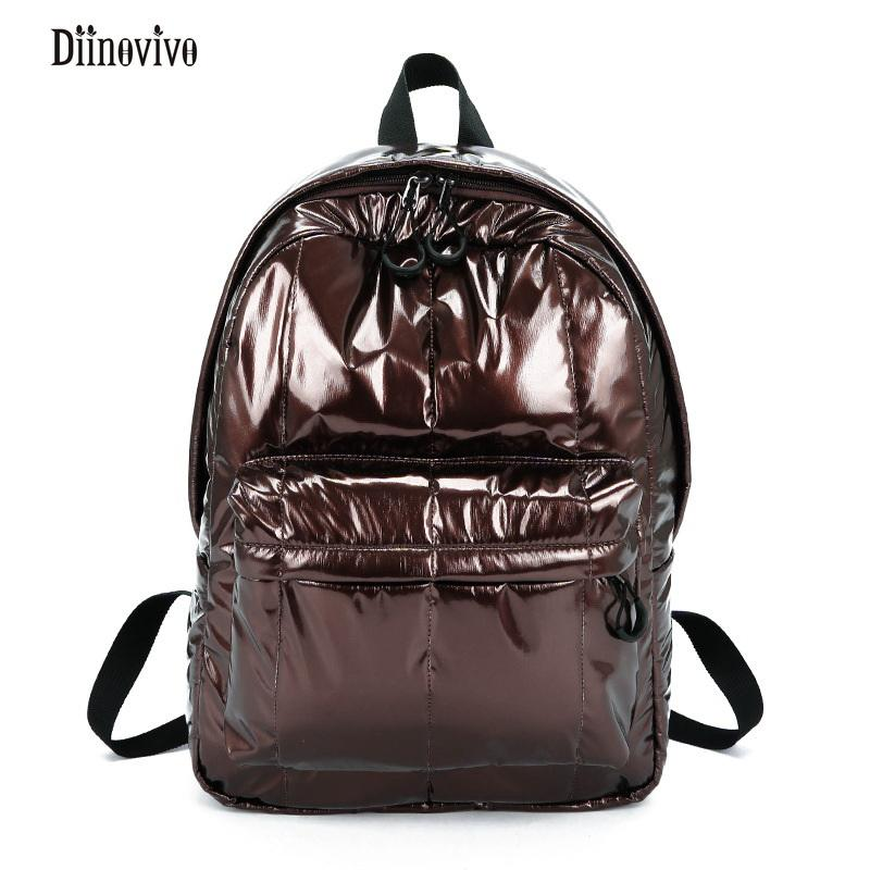 Diinovivo Fashion Space Cotton Backpack Large Capacity Winter Ladies  Shoulder Bag Glossy Women S Bag Simple Pack New DNV0862 Wheeled Backpacks  Leather ... 16ce82c9f8