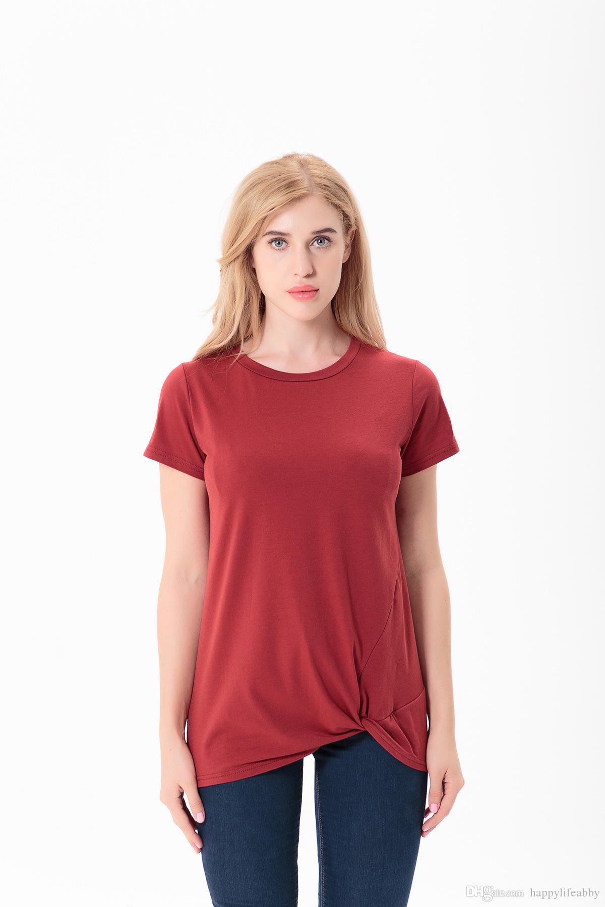 spring summer Women knot t-shirts o neck solid color loose casual bow shirts plain top tank