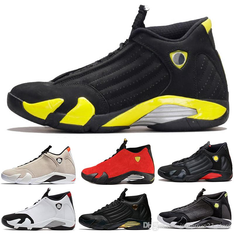 8eb0321fe0a 14 XIV Thunder 14s Men Basketball Shoes Classic Black Toe Red Suede ...
