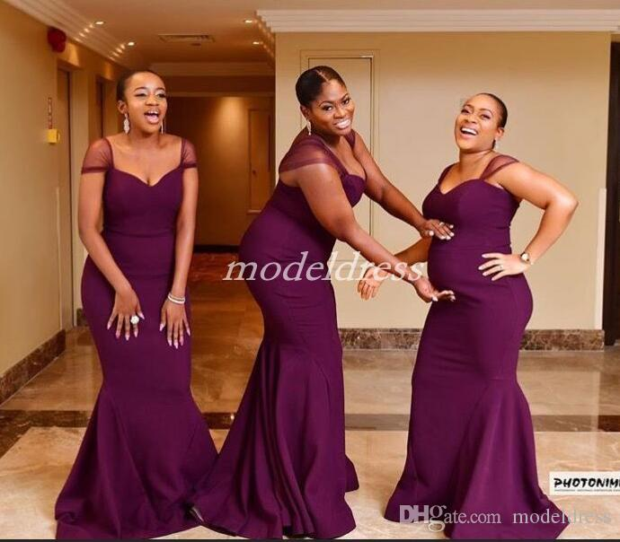 af226cce9004 Grape Plus Size Mermaid Bridesmaid Dresses Cap Sleeve Sweep Train Simple Garden  Country Beach Wedding Guest Gowns Maid Of Honor Dress 2019 Bridesmaid Beach  ...