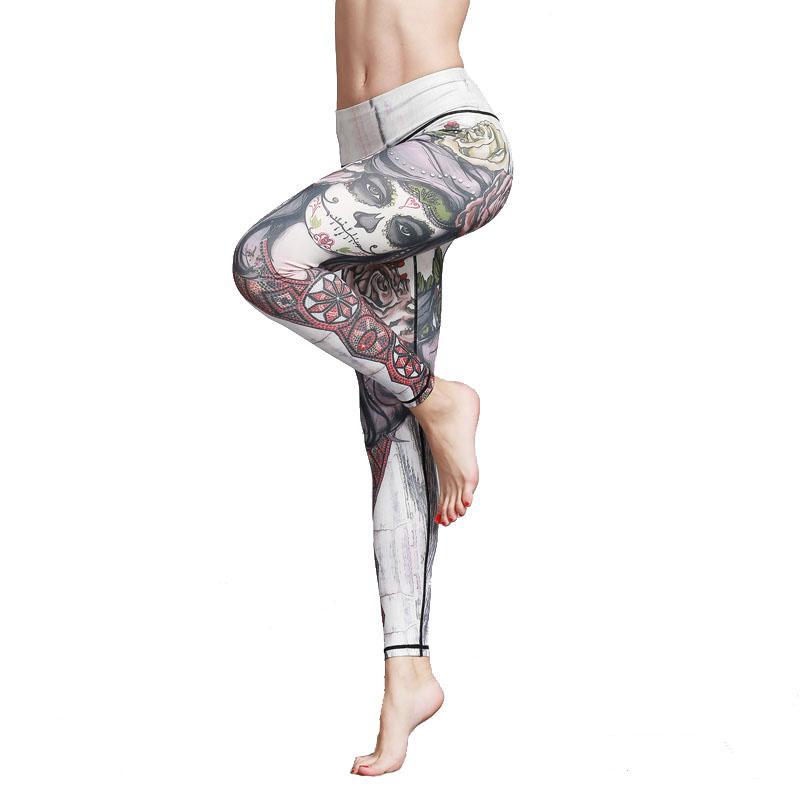 8a39b03ea8680 New Breathable Yoga Pants Women'S Print High Elastic Slim Fit Trousers High  Waist Sports Fitness Skinny Ankle-Length Leggings