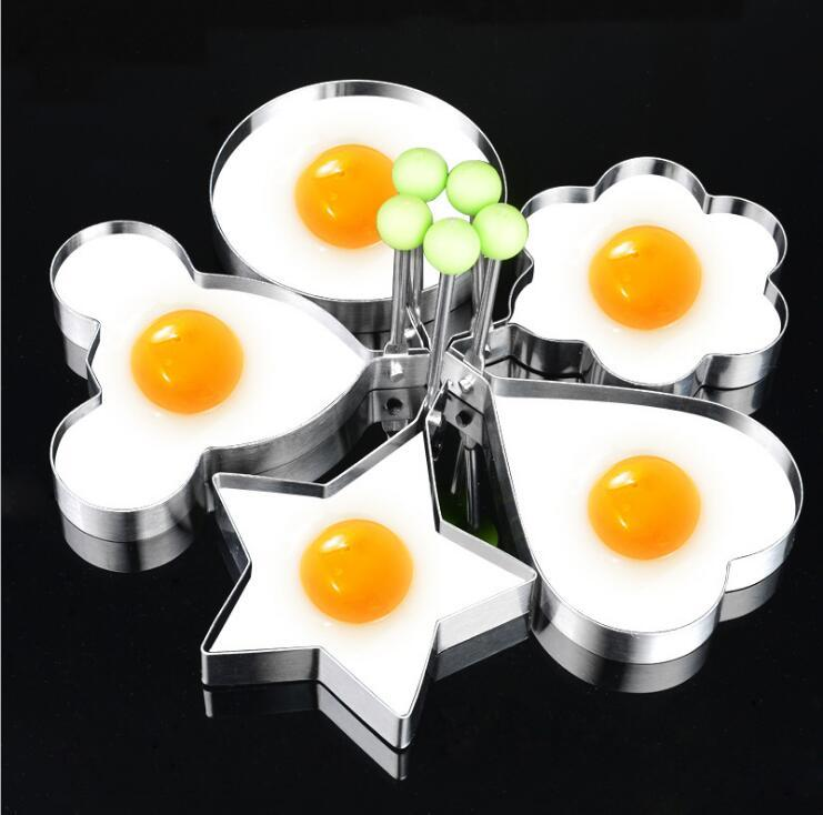 Egg & Pancake Rings Stainless Steel Egg Mold Multifunctional Heart-shaped Breakfast Cute Egg Pancake Ring Cake Baking Frying Apparatus Kitchen Tools High Quality Materials Kitchen,dining & Bar