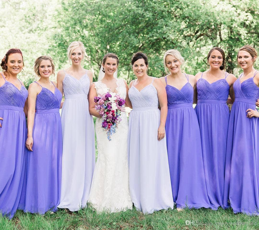 0e11917c8c91 Light Purple Straps Spaghetti Chiffon Long Bridesmaid Dresses 2019 Ruffles  A Line Floor Length Cheap Maid Of Honor Gowns BM0352 Bridesmaid Dresses  Melbourne ...