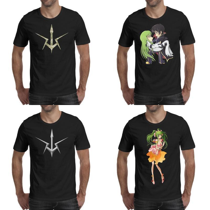 Mens printing Code Geass lelouch lamperouge rendering black t shirt Design Awesome Casual Shirts Classic Kneeling hug Camouflage logo CC