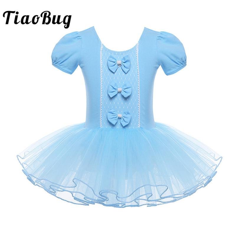 d207326a2f8ac TiaoBug Children Mesh Ballet Tutu Dress Short Sleeve Bowknot Girls ...