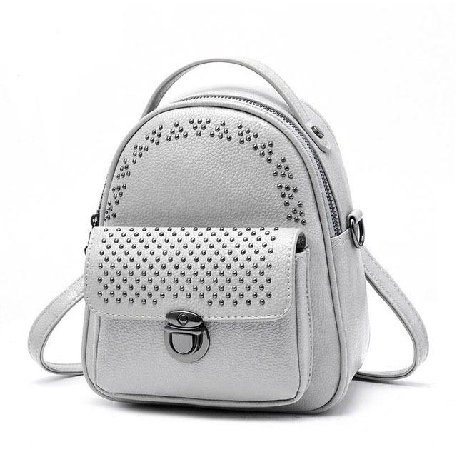 9e921036376 Summer Mini Rivets Backpack For Women Youth Backpack Female Small Back Bag  Woman Fashion Gray Daypack Teenage Girls Shoulder Bag