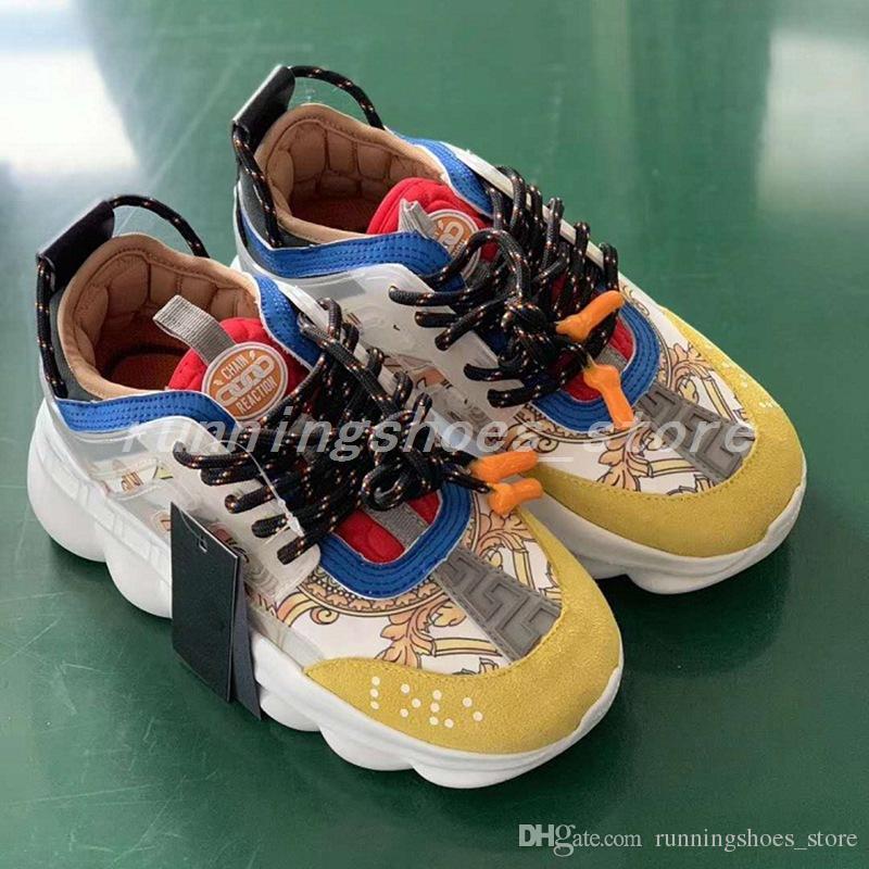 2d5cd13cc7 Versace chain reaction Scarpe da ginnastica sneaker con catena a reazione  gialla Scarpe da ginnastica da donna da uomo con suola leggera in gomma ...