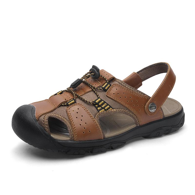 Sandals Men Shoes 2019 New Gladiator Roman Men Beach Casual Shoes Summer Genuine Leather Outdoor Sandals Large Size 38~50