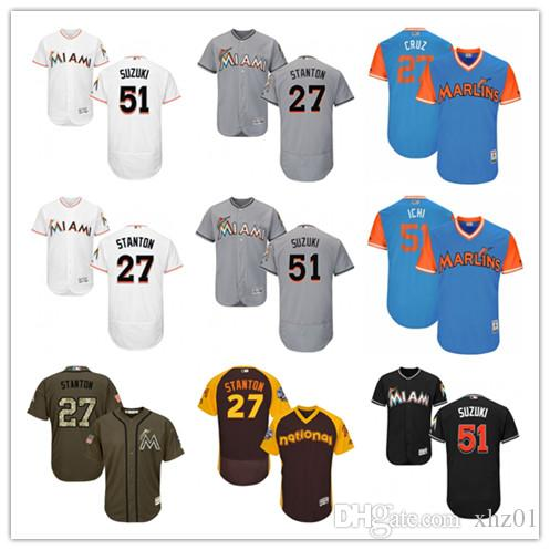 new style f3c69 3e074 custom Men s Women s Youth Majestic Marlins Jersey 27 Giancarlo Stanton  Cruz 51 Ichiro Suzuki Ichi Baseball Jerseys