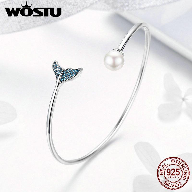WOSTU di alta qualità in argento sterling 925 della sirena lacrime perle bracciali open size amicizia bracciali le donne gioielli cqb123
