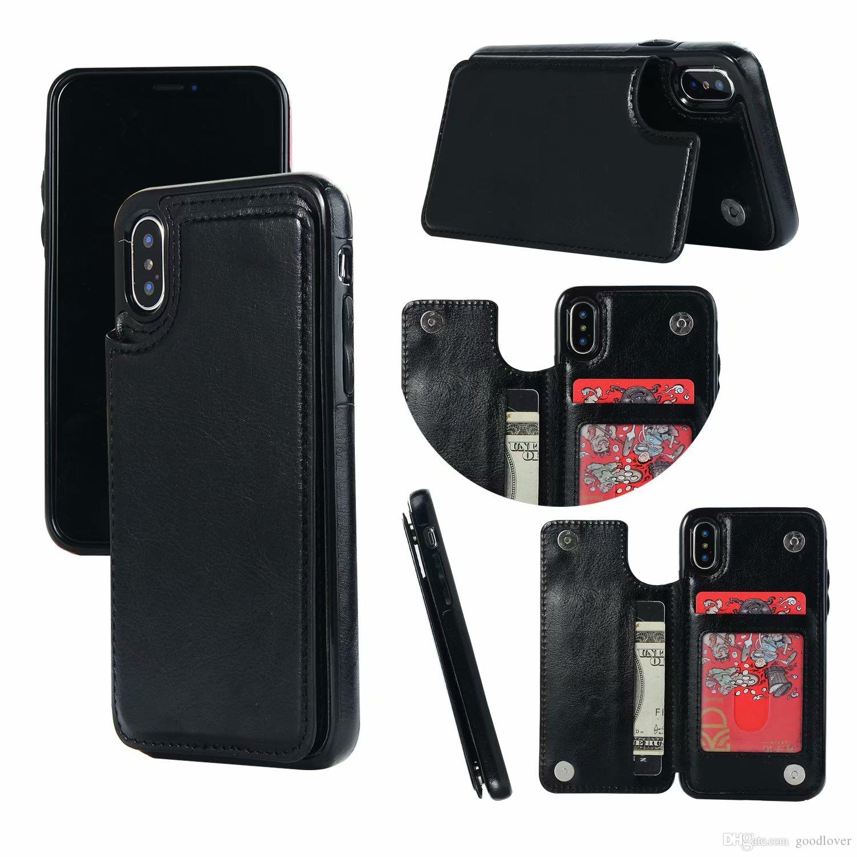 c9225cf998b Fundas Para Celulares Personalizadas Comercio Al Por Mayor Retro PU Funda  De Cuero Para IPhone 8 7 X 6 6 S Plus XS Max XR Cubierta De La Ranura De La  ...