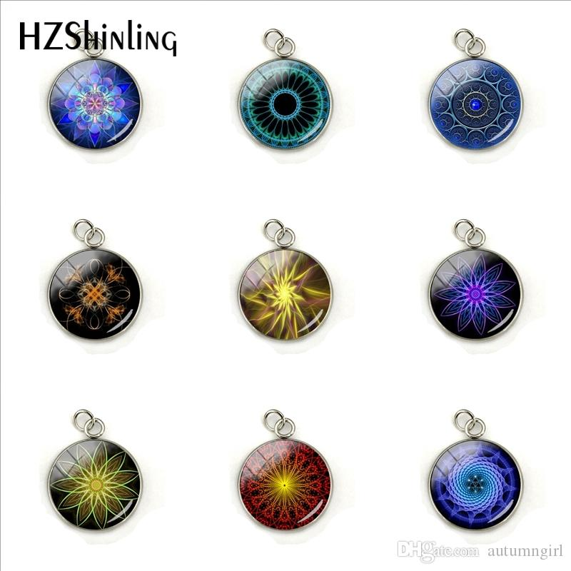 Vintage Flower Fractal Art Circles Pattern Fashion Charms Glass Cabochon Hand Craft Stainless Steel Jewelry Gift for Women
