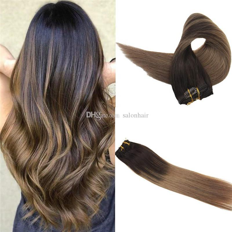 Clip In Hair Extensions Color Darker Brown Fading To Light Brown