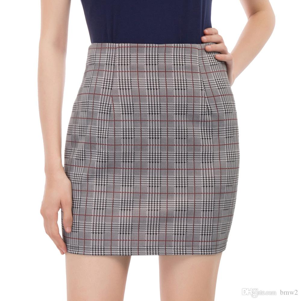 ff66fed80f40 2019 Sexy Bodycon Skirts Womens Classic Vintage Plaid Elastic Waist Hips  Wrapped Mini Skirt Pencil Office Lady Work Skirt Falda Mujer From Bmw2, ...