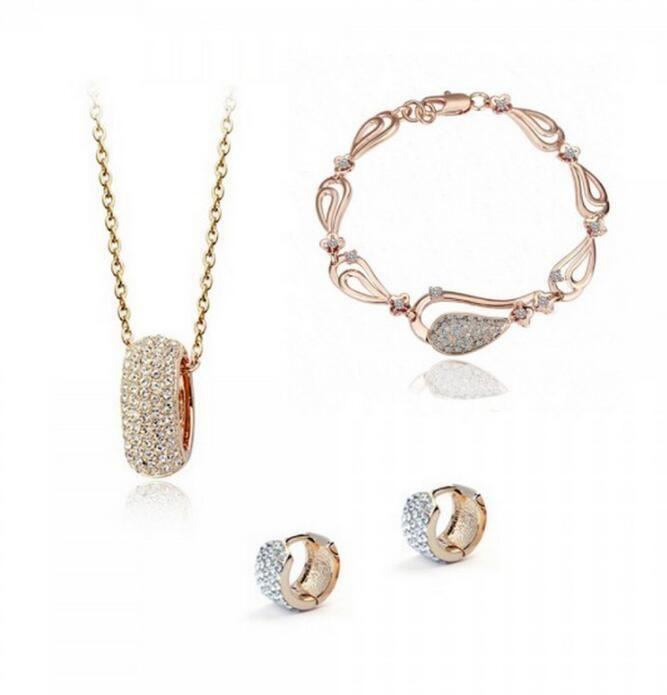 b4bbeceb9f3af 18K Rose Gold Plated Swarovski Crystal Necklace Earring Bracelet Jewelry  Set Wedding Bridal Sets Christmas Gift Wholesale Price 3pcs/set