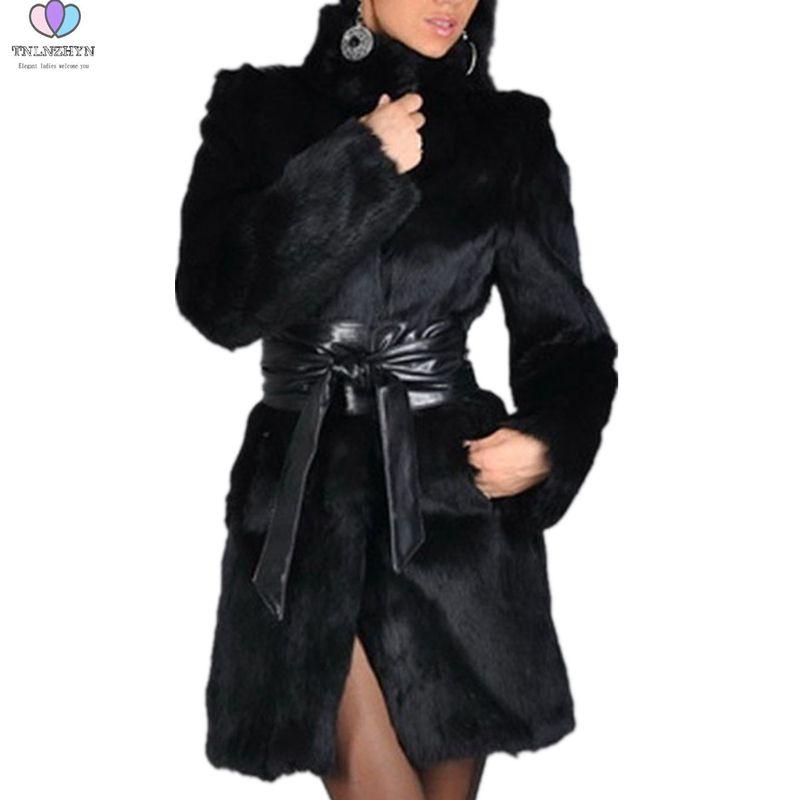 big sale 026b7 7333e 2019 autunno inverno donna pelliccia di visone cappotti di pelliccia di  volpe cappotto medio lungo Plus size 5XL imitazione casual caldo giacche  moda ...