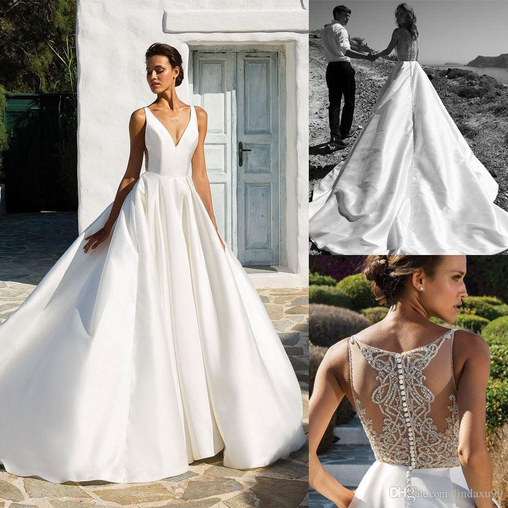 Discount Designer Wedding Gowns: Discount 2019 New Designer Satin Wedding Dresses Beaded V