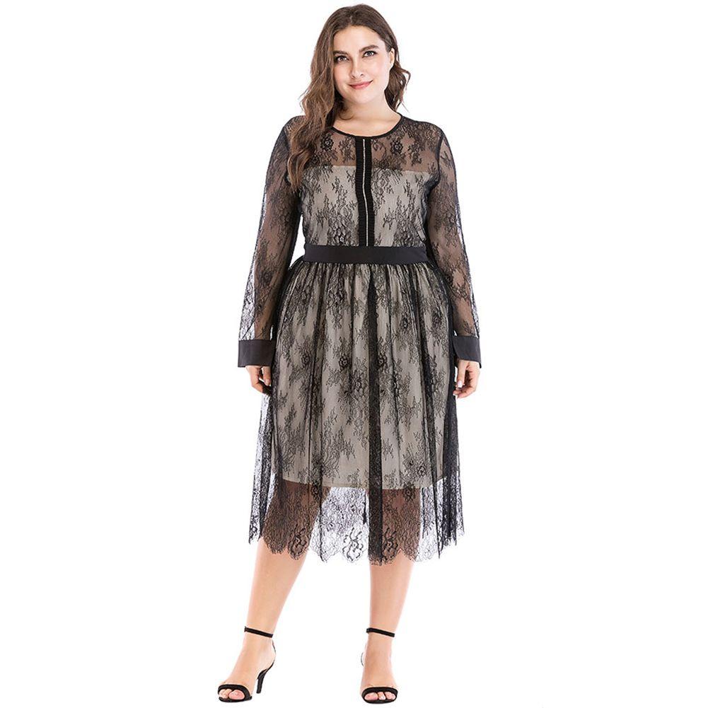 7ba9e476005 Plus Size Dress With Mesh Sleeves - Data Dynamic AG