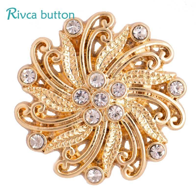 Rivca Snap Button Pulseras Para Las Mujeres 2017 Más Recubrimiento de Oro 18mm Rhinestone Snap Button Charms Pulseras joyas D03305