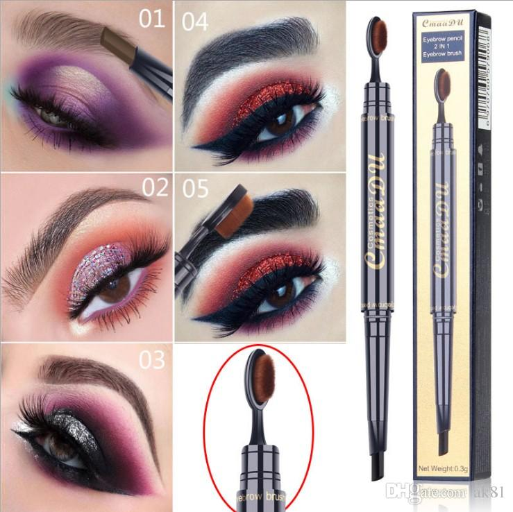 b8990145741 Women Waterproof Double Head Automatic Eyebrow Pencil Pen With Eye Brows  Brush 2 In 1 Makeup Cosmetic Beauty Tools Eyebrow Tint Eyeshadow Primer  From Ak81, ...