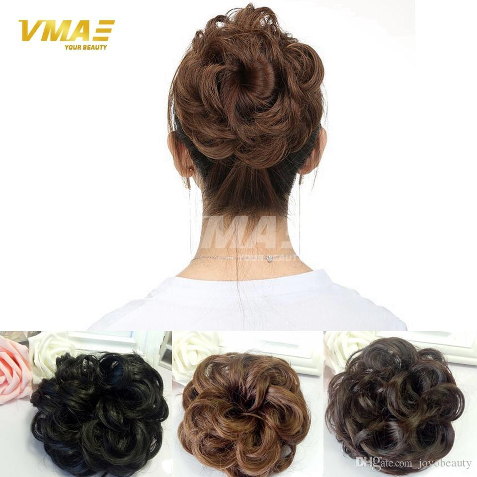 Natural Hairpiece Chignon Synthetic Hair Donut Roller Fast Bun Heat Resistant Hairpiece Hair Bun Girls Wavy Curly Hair DHL Free Shipping
