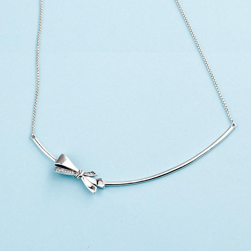 c52530578e79a Authentic 925 Sterling Silver Chain Pendant Necklaces Logo Original box for  Pandora Gorgeous bows Silver Necklace for Women Gift