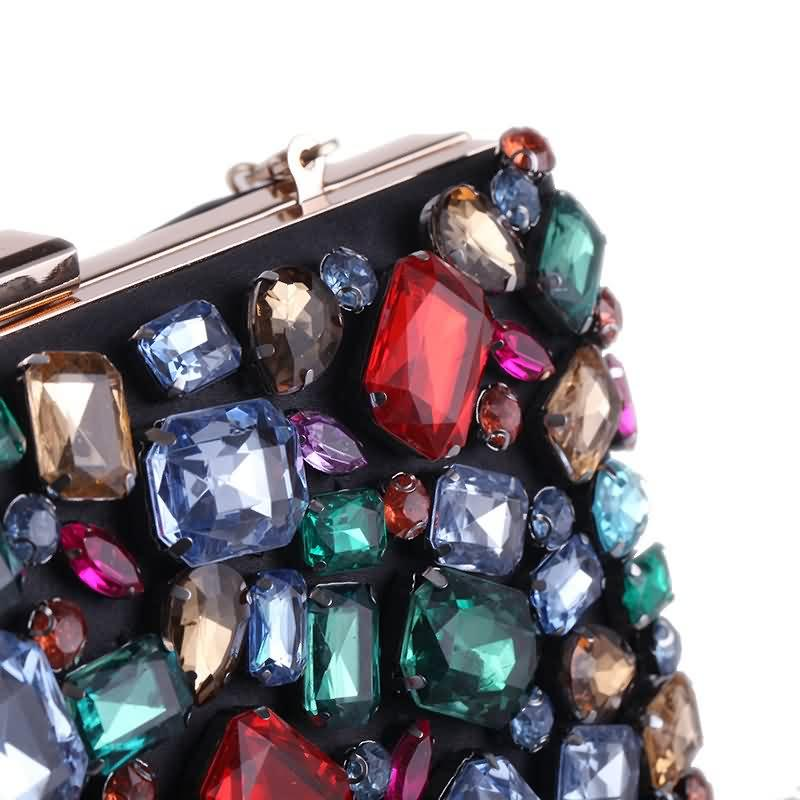 Luxy Moon Evening Bags Diamond Beaded Gem Stone Black Women's Purse Wedding Wallet for Women Shoulder Bags with Two Chain ZD636