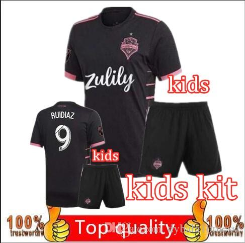 the best attitude d6980 203cb kids kit 2019 2020 MLS Seattle Sounders Soccer Jerseys MORRIS LODEIRO  ALONSO ROLDAN Custom 19 20 Away Black Kids Youth Football Shirt