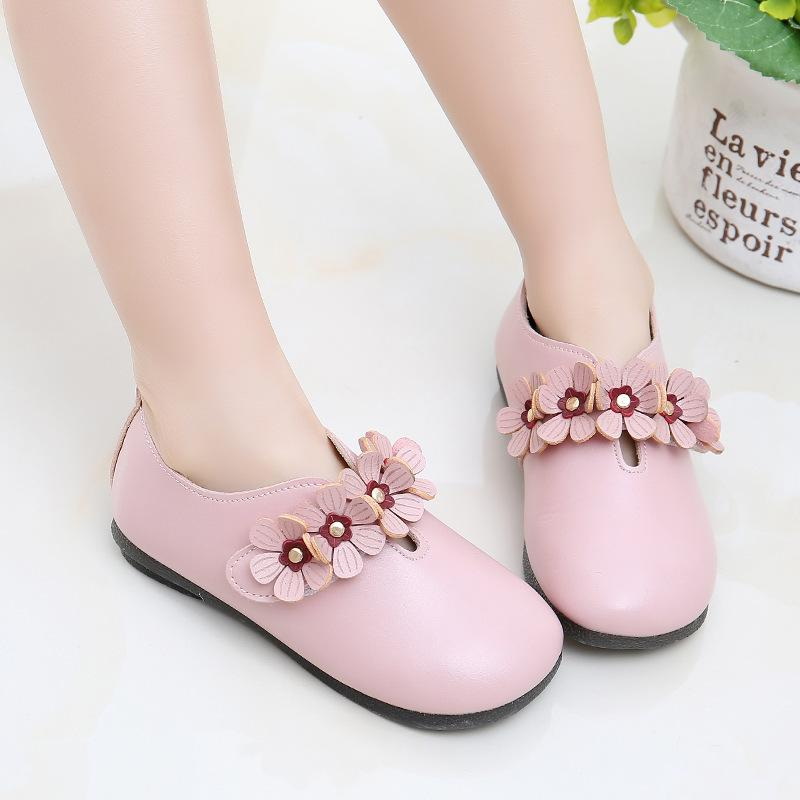 100459 Princess Fashion Brand Kids Shoes For Girls Children Leather Flats With Cute Flowers Kawaii Sweet Quality Sneakers