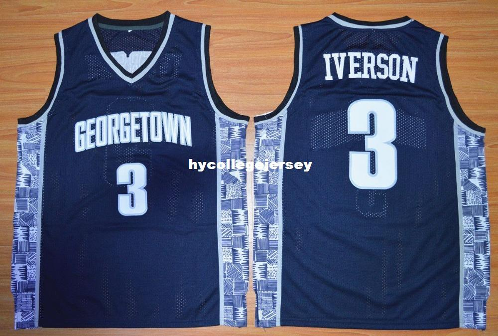 dd45e9882d7e 2019 University  3 ALLEN IVERSON Georgetown Hoyas College BETHEL HIGH  SCHOOL JERSEY Customize Any Number Size And Player Name XS 6XL Vest Jerseys  From ...