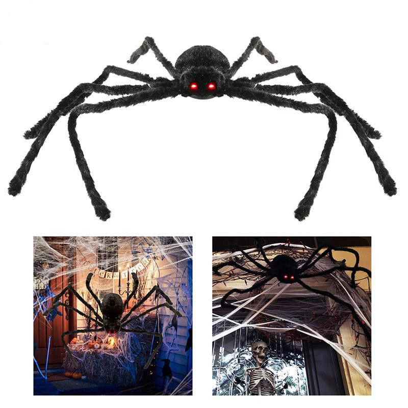 Halloween Decorations Accessories Big Black Plush Spider Mischief Decoration Haunted House Prop Indoor Outdoor Black Giant 3 Size 30/50/70cm