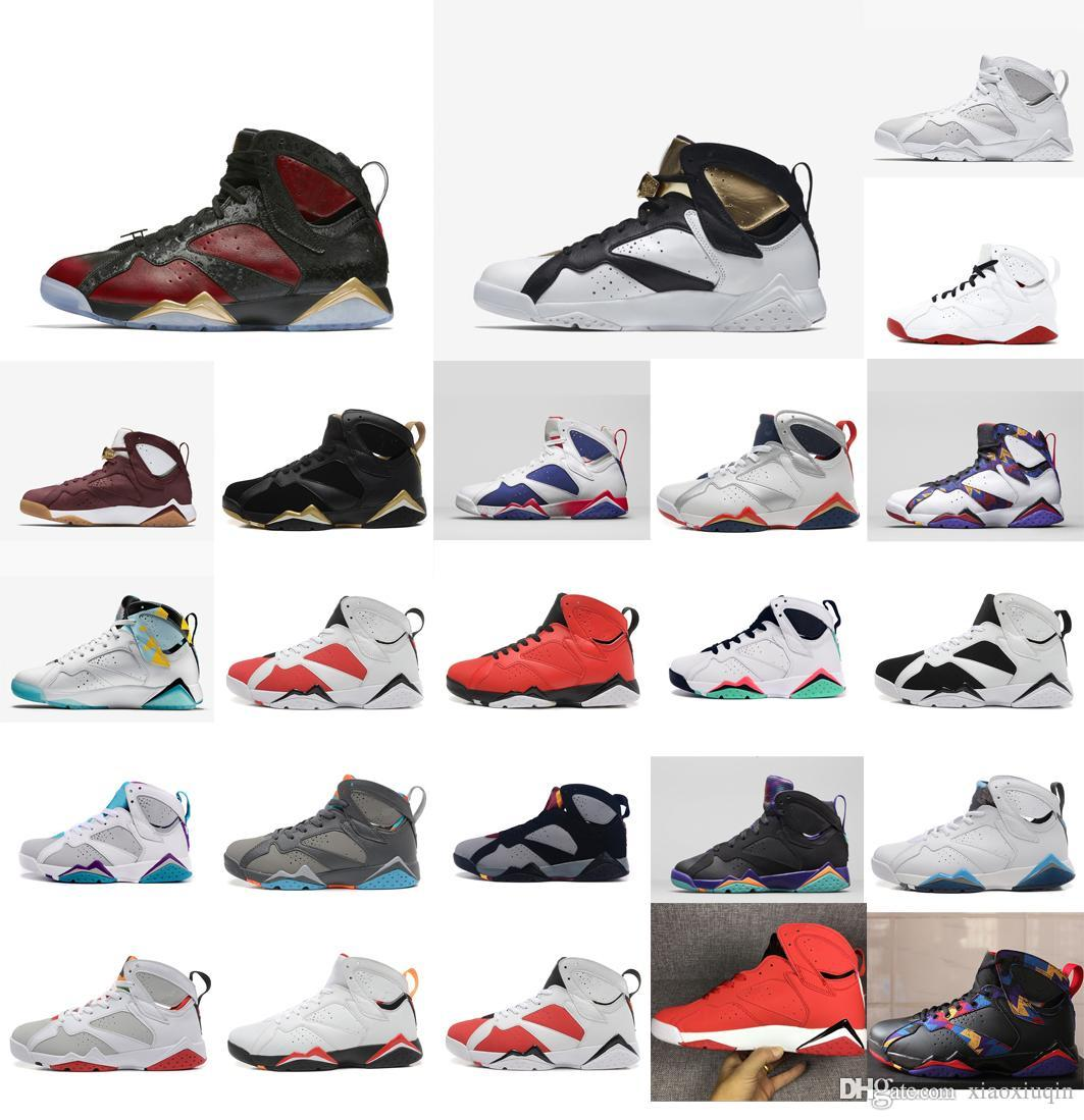 0d1e7eb31fe4e8 2019 Mens Retro 7s Basketball Shoes J7 Olympic Gold Red Black Championship  Cigar Sweater Doernbecher Jumpman Air Flight Sneakers Tennis With Box From  ...