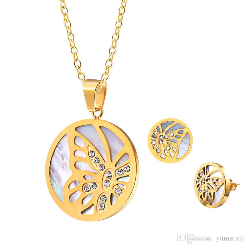 408911d7b91ce 2019 New Butterfly Pendant Necklace Earring Set Stainless Steel Gold Plated  Shell Crystals Setting Pendant Stud Earrings Jewelry For Girls Women From  ...