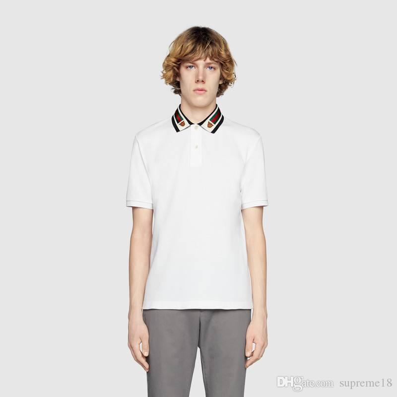 f603d2f77 2019 Ss19 Italy Cotton Polo With Web And Feline Head Men Tiger Striped  Solid Polo Shirt Collar Polos Mens T Shirts Clothing G851 Poloshirt From  Supreme18, ...