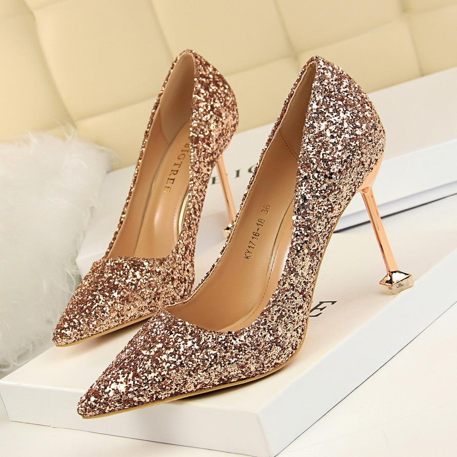 5a299243fb29 Dress Women Sexy Bling Party Shoes 9.5cm High Heels Shoes Elegant Pointed  Toe Thin Heels Pumps Glitter Wedding Shoes White Black Pink Shoes Munro  Shoes From ...