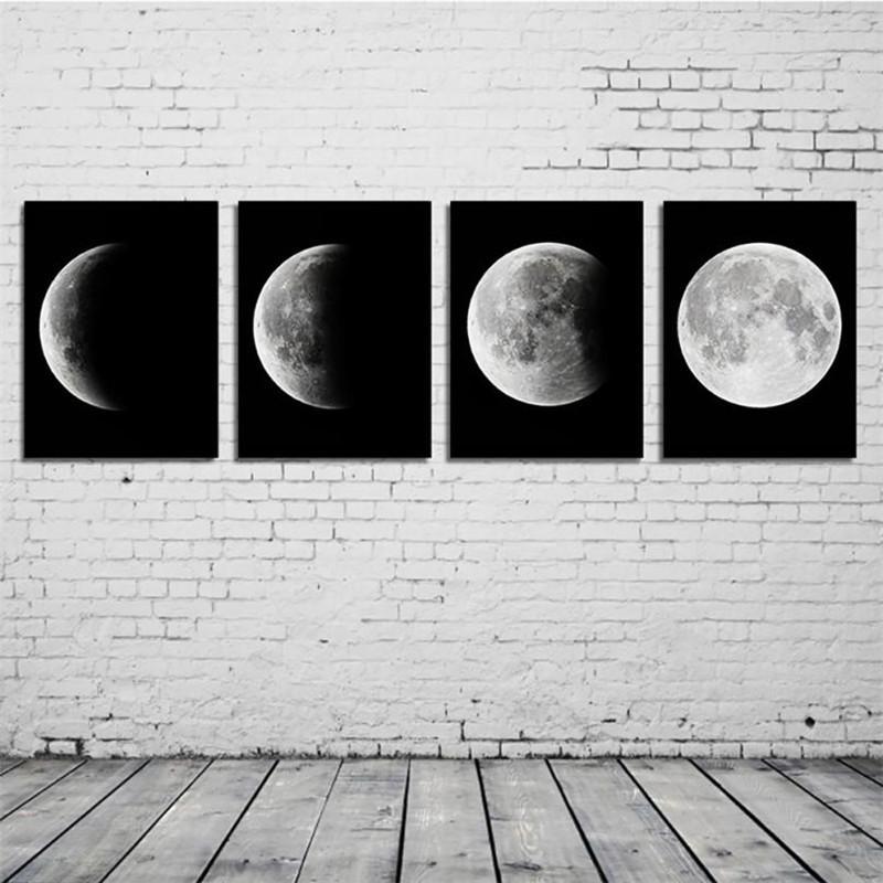 Küçük 20 30 Cm 4 Adet Tuval Baskı Soyut Ay Posteri Boyama Sanatı Duvar Dekorasyon Değişim Ay Resimleri Dekor çerçevesiz Resim Sergisi